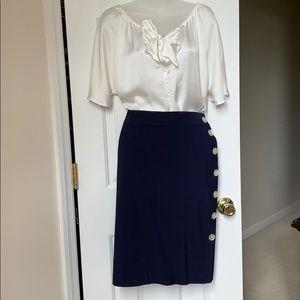 Classic Lauren Navy side button wool skirt. NWOT